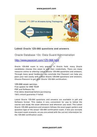 Oracle 1Z0-066 questions and answers