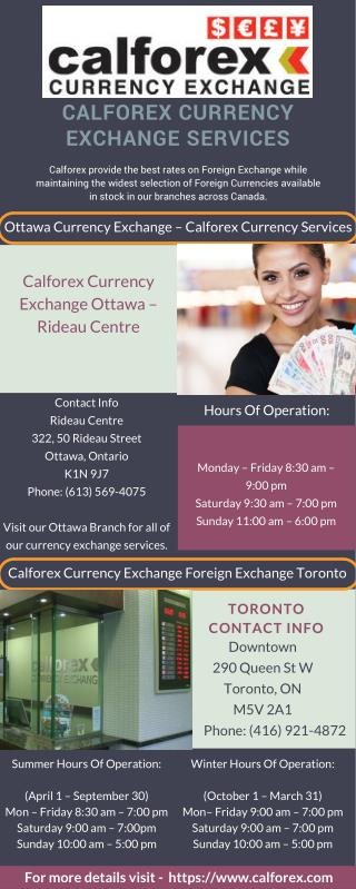 Calforex Currency Exchange Services - Ottawa and Toronto Locations