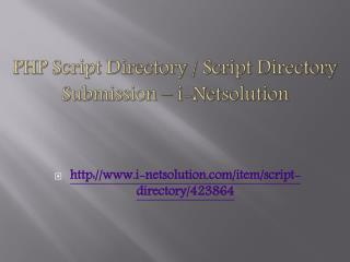 PHP Script Directory / Script Directory Submission – i-Netsolution