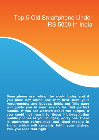 top 5 old smartphone mobile under rs 5000 in india