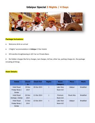 Udaipur Honeymoon Tour Package