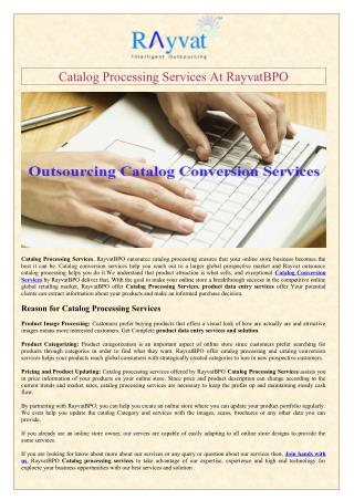 Catalog Processing Services At RayvatBPO