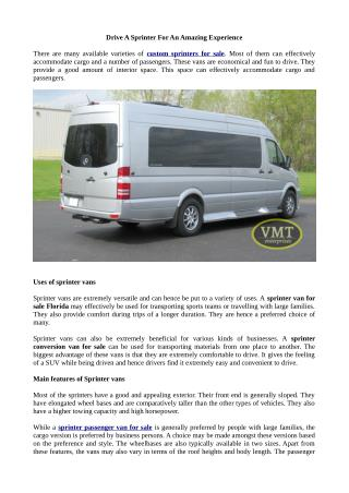 Drive A Sprinter For An Amazing Experience