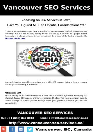 Choosing an SEO Services in Vancouver