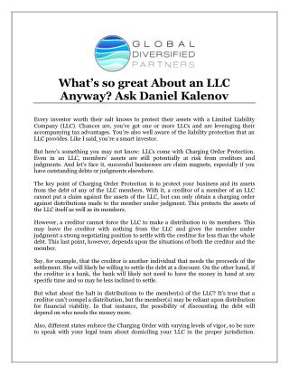 What's so great About an LLC Anyway? Ask Daniel Kalenov
