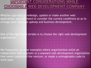 Consider These Points While Choosing A Web Development Company