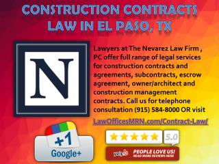 Construction Contracts Law in El Paso, TX