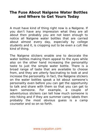 The Fuse About Nalgene Water Bottles and Where to Get Yours Today