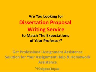 Dissertation Proposal Writing Service