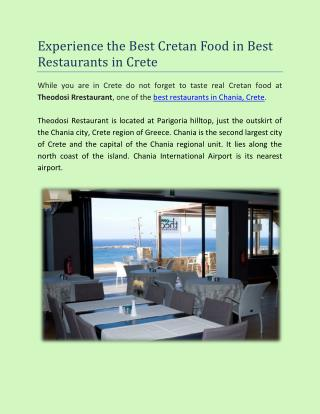 Best Restaurants in Crete