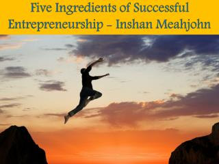 Five Ingredients of Successful Entrepreneurship - Inshan Meahjohn