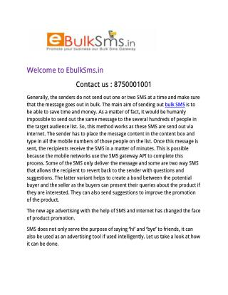SMS Advertisement or Bulk SMS Marketing