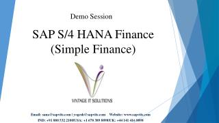 SAP S4 HANA Simple Finance Online Training Course module India