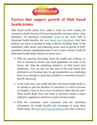 Factors that support growth of Malt based health drinks