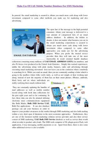 Bulk SMS Service UAE