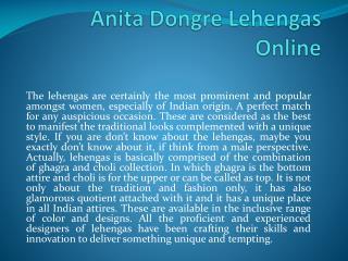 Anita Dongre Lehengas Online
