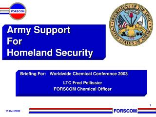 Army Support  For Homeland Security