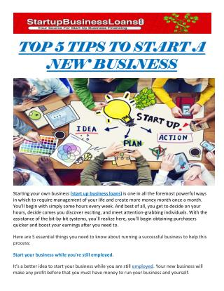 TOP 5 TIPS TO START A NEW BUSINESS