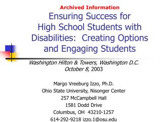 Archived Information Ensuring Success for High School Students with Disabilities:  Creating Options and Engaging Student