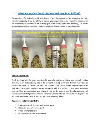 What are Implant Dentist Ottawa and How Does It Work?