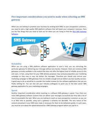 Five important considerations you need to make when selecting an SMS gateway