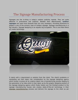 The Signage Manufacturing Process