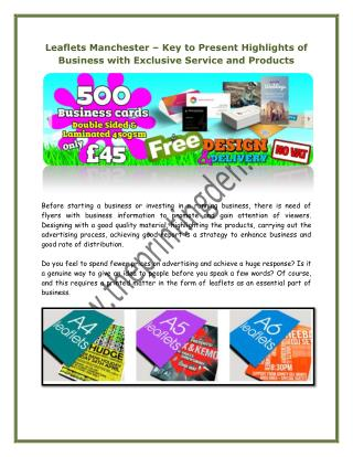 Leaflets Manchester – Key to Present Highlights of Business with Exclusive Service and Products