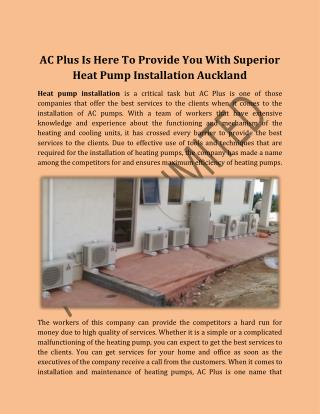 AC Plus Is Here To Provide You With Superior Heat Pump Installation Auckland
