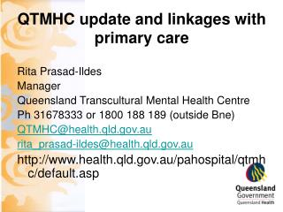QTMHC update and linkages with primary care