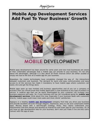 Mobile App Development Offers Wonderful Services