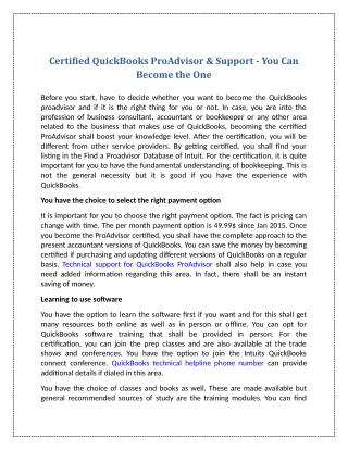 Certified QuickBooks ProAdvisor & Support - You Can Become the One