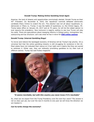 Donald Trump: Making Online Gambling Great Again
