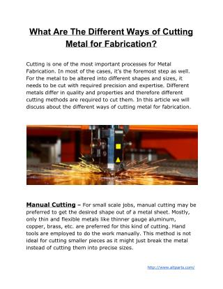 What Are The Different Ways of Cutting Metal for Fabrication?