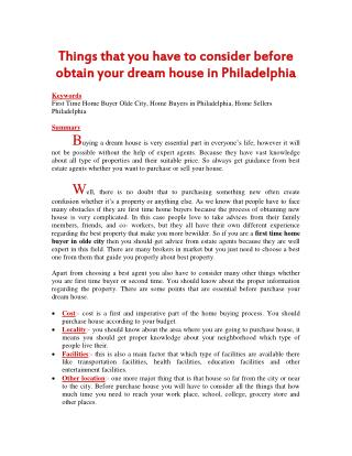 Things that you have to consider before obtain your dream house in Philadelphia