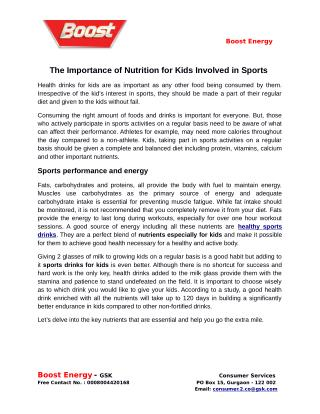 The Importance of Nutrition for Kids Involved in Sports