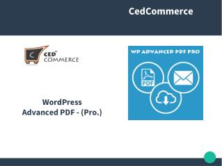 WP ADVANCED PDF PRO WORDPRESS EXTENSION BY CEDCOMMERCE