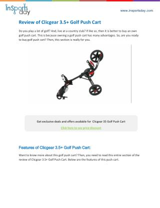 Clicgear 3 5 Golf Push Cart Review
