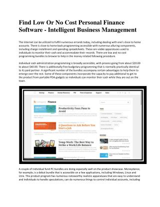Finance software - Intelligent Business Management
