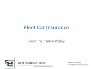Fleet Car Insurance