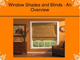 Window Shades and Blinds - An Overview