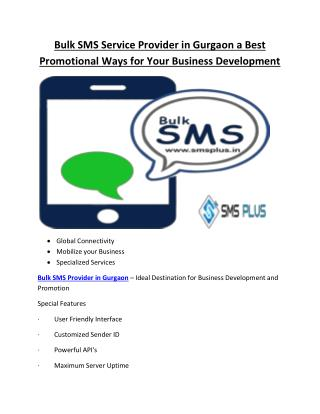 Bulk SMS Service Provider in Gurgaon a Best Promotional Ways for Your Business Development