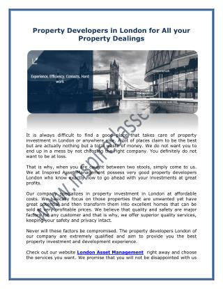 Property Developers in London for All your Property Dealings
