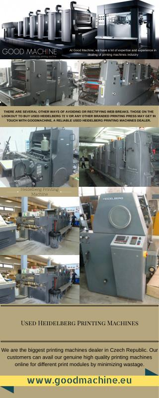 Biggest Used Heidelberg Printing Machines Dealer
