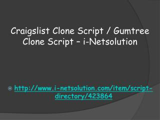 Craigslist Clone Script / Gumtree Clone Script � i-Netsolution