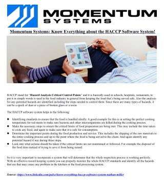 Momentum Systems: Know Everything about the HACCP Software System!