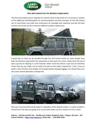 Hire 4x4 Iceland Cars for Beatless Exploration