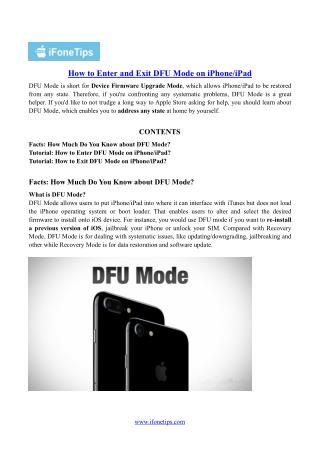 How to Enter and Exit DFU Mode on iPhone/iPad