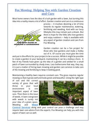 Fox Mowing: Helping You with Garden Creation and Care