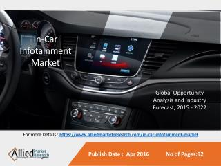 In-Car Infotainment Market is Expected to Reach $33.8 Billion, Globally by 2022
