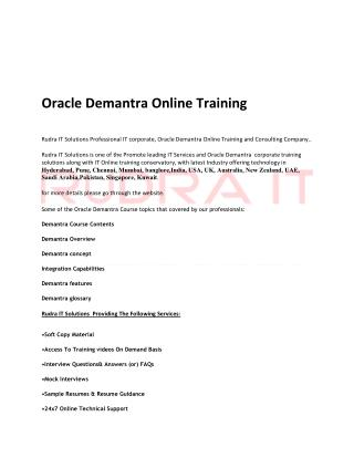 Oracle Demantra Online Training  in Australia